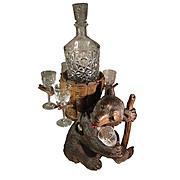 Swiss Black Forest Bear Decanter Stand Bottle & Glasses Wooden Bear Figure.