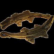 Two Majolica Palissy Crocodile Figurines Green Glazed Ceramic Alligator.