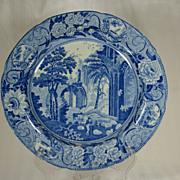 William Mason Transfer-printed Plate, Gothic Ruins, Scroll Border 1811-1824