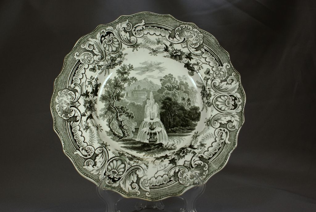 Staffordshire Black and White plate, Fountain by Enoch Wood, 1830s
