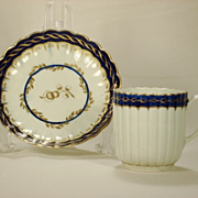 Worcester Davis or Flight Period Cup and Saucer, 1780's
