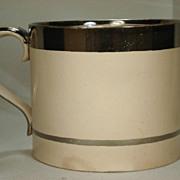 Extra Large Silver Lustre Trimmed Drabware Mug C 1820's