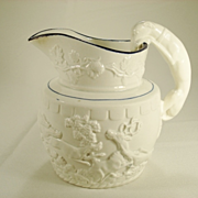 Earthenware Relief Molded Hunting Jug, Probably Wood, 1830's