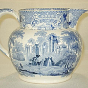 Staffordshire Transfer Printed Pitcher in Verona Pattern, C 1840