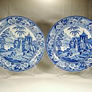 Pair of Liverpool Pearlware Plates, Herculaneum, 1810's
