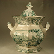 Large Staffordshire Transfer Printed Canister, C1840's