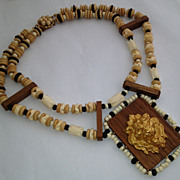 Vintage Miriam Haskell Wood necklace with Russian Gold Plate Lion Head