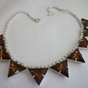 1950s Vintage Designer Austrian Rhinestone Topaz Necklace Julliana