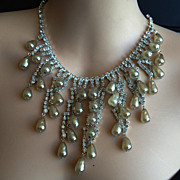 1950s Vintage Designer Rhinestone and Baroque Pearl Dangles Necklace