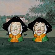 Pair of Miniature Arthur Bowker Fine Bone English China Toby Mugs