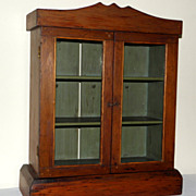 Charming Antique Wood and Old Glass Doors Wall Cabinet