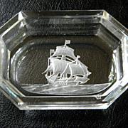 Vintage Beveled Master Salt Etched Sailing Ship Design