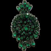 Vintage WARNER Green Crystal Rhinestone Brooch Pin