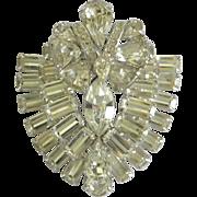 Wonderful Vintage EISENBERG Rhinestone Bejeweled Shield-Shaped Brooch Pin