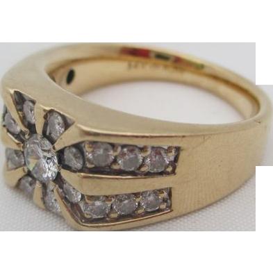 14kt .77 Diamond men's ring
