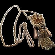 14kt Victorian tassel and diamond necklace