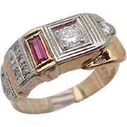 14kt Diamond and ruby buckle ring