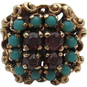 14kt  Garnet and Persian turquoise ladies ring