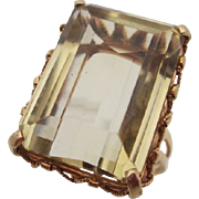 18kt  Deco citrine ladies cocktail ring