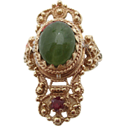 14kt jade,ruby and natural pearl ladies ring