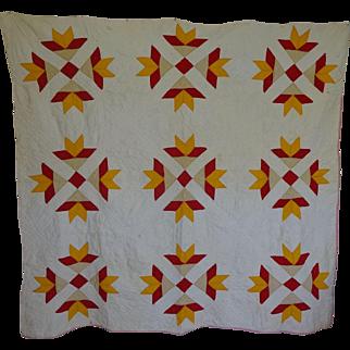 Quilt Red & Cheddar *Goose Tracks* 1800's