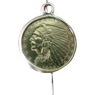 SALE Indian Head Gold Coin 2.5-dollars Earring US Mint 1928
