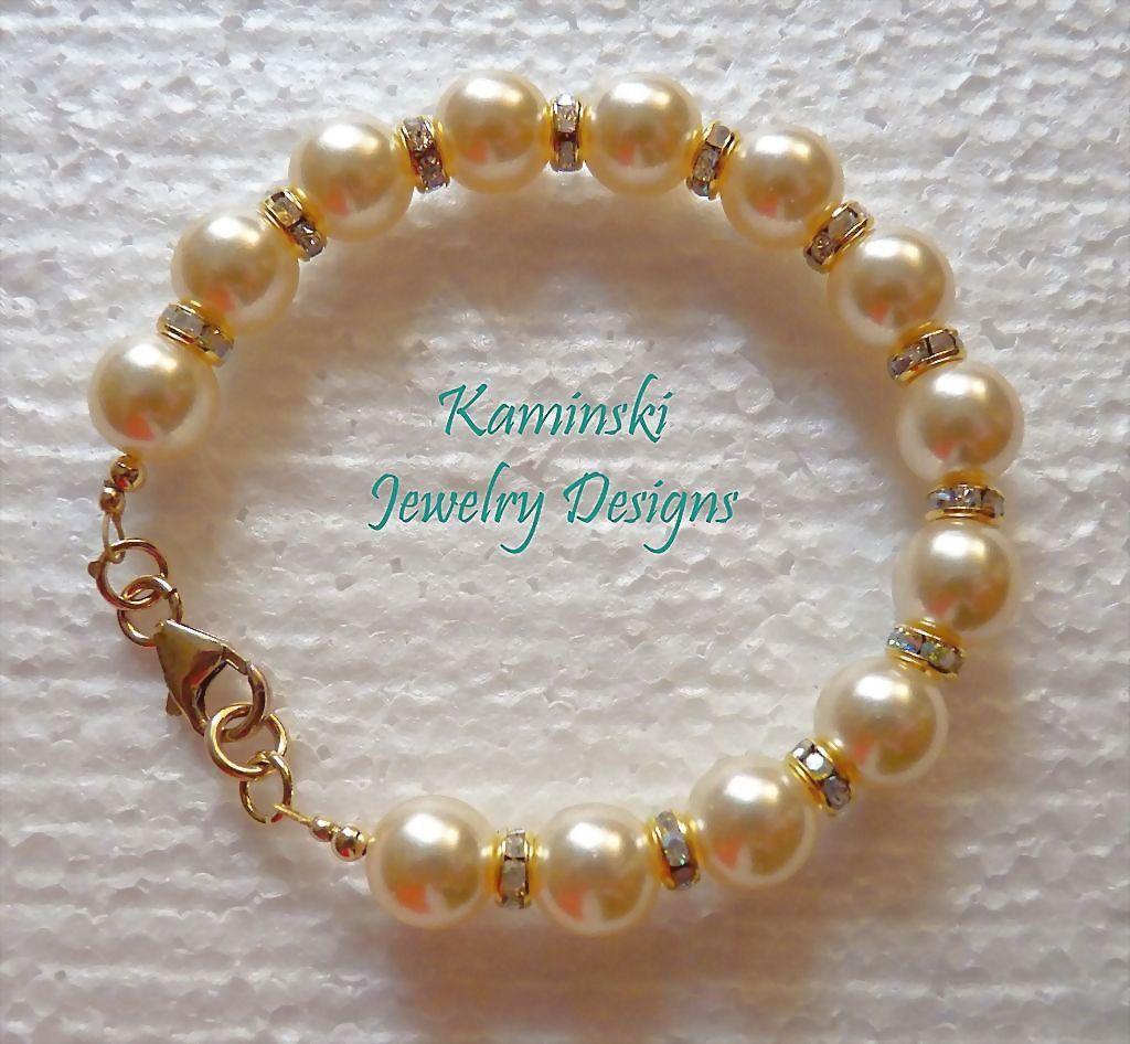 Swarovski Cultura Pearls and Crystal Rondelles Gold Filled Bracelet