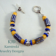 African Trade Beads and Silver Bracelet