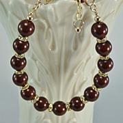 Maroon Swarovski Crystal Pearls and Crystal Rondelles Gold Filled Bracelet