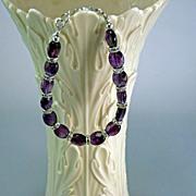 Handcrafted Natural Faceted Amethyst and Silver Swarovski Crystal Rondelles Bracelet