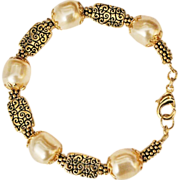 Swarovski Pale Gold Baroque Crystal Pearls and Gold Plated Bracelet