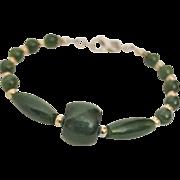 Artisan Handcrafted Dark Green Nephrite Jade and Sterling Silver Bracelet