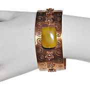 Handcrafted Copper Cuff Bracelet with Yellow Agate