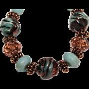 Blue Green Raku, Lampwork and Amazonite with Copper bracelet
