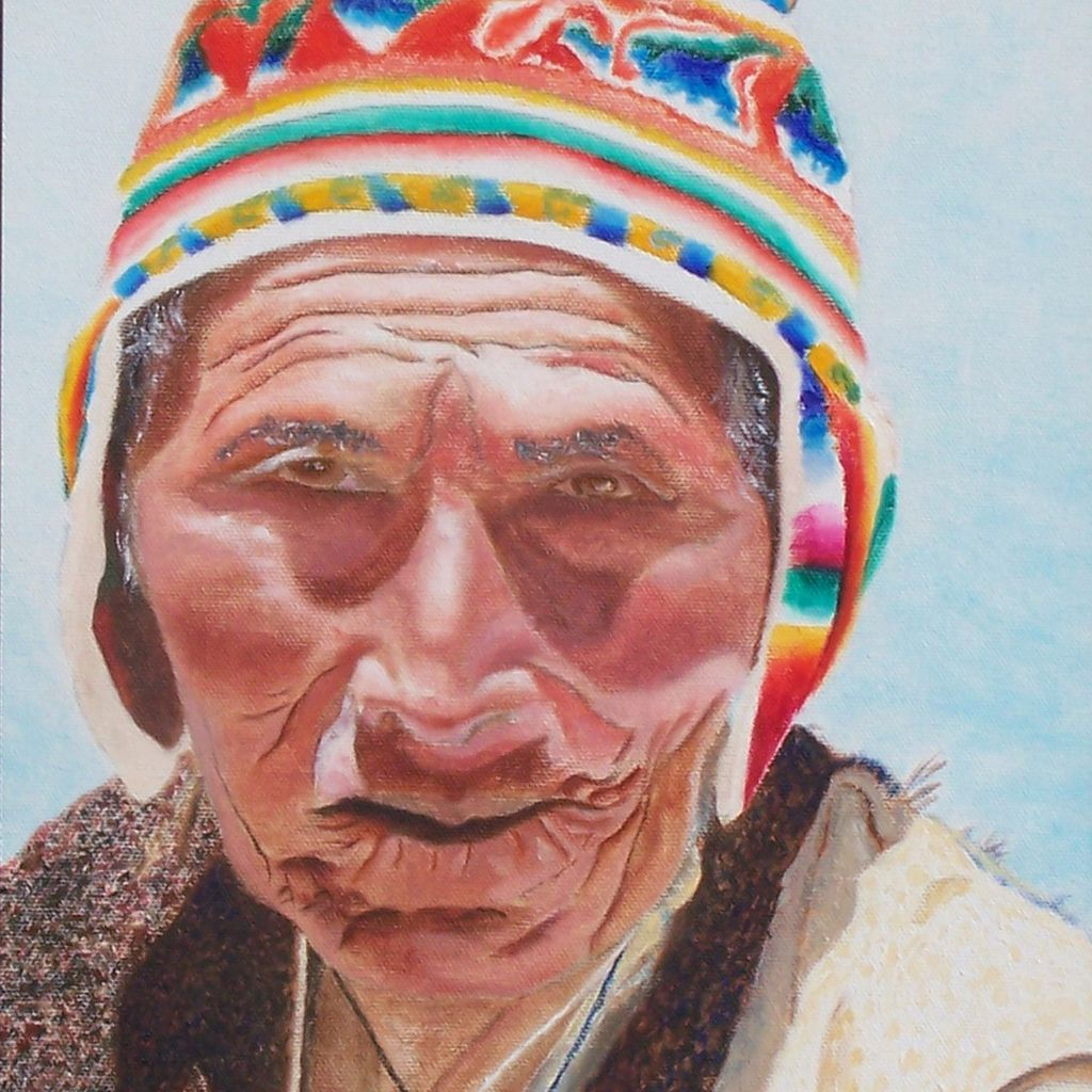 Stunning portrait of a man south america region oil painting on canvas framed unique fine art by contemporary artist Monica Fallini
