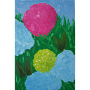 Hydrangeas floral oil painting on canvas by contemporary artist Monica Fallini