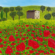 Tuscany Italy landscape field of Poppies oil painting by contemporary artist Monica Fallini