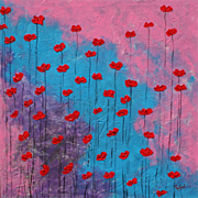 Beautiful floral painting unique style red Poppies modern art by contemporary artist Monica Fallini