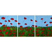"Red Poppies 3 canvas painting original oil 22"" x 54"" unique style great texture by contemporary artist Monica Fallini"