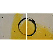 "Zen abstract 2 canvas painting 22"" x 44"" modern fine art by contemporary artist Monica Fallini"