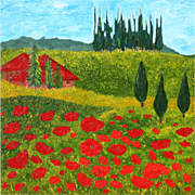 """Tuscan red Poppies landscape gorgeous oil painting unique style 40"""" x 40"""" by contemporary artist Monica Fallini"""
