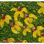 Yellow flowers oil painting exquisite texture unique style by contemporary artist Monica Fallini