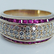 """Estate """"14K Yellow Gold"""" VS2 Diamond .56ct Quality Ruby Band Ring Size 6.25 (can be sized) 4.8 Grams"""