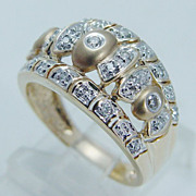 """Estate """"14K Satin Yellow Gold"""" Diamond Wide Domed Band Ring"""