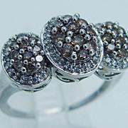 "Beautiful Estate ""14K White Gold"" Champagne and White 1.30cts Diamonds Filigree Ring"