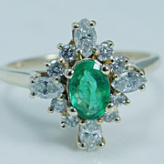 """Vintage Jewelry """"14K Yellow Gold"""" Colombian .52ct Emerald .64ct Diamond Ring Hallmarked"""