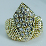"""Vintage """"14K Yellow Gold"""" VS1 Single cut Diamond Large Crown Ring for Princess 8.8 Grams Size 7 (can be sized)"""