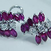 "High Quality Ruby and Diamond Earrings ""14K White Gold"" Omega backings"