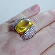 Huge 925 Sterling Silver White Cubic Zirconia Yellow Quartz Cocktail Ring