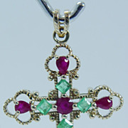 """Vintage """"10K Yellow Gold"""" .60ct High Quality Emerald and 1.4 ct Ruby Cross Pendant"""